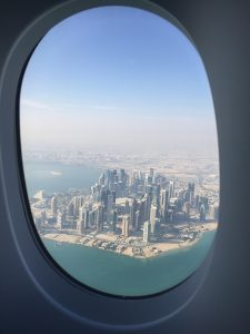 Flugzeug-Blick-auf-Katar